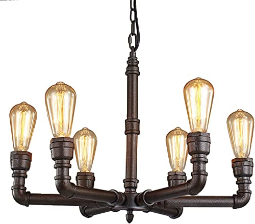 LAKIQ 6 Lights Hanging Pendant Light Industrial Vintage Water Pipe Island Lighting Fixture Black Chandelier for Dining Room Kitchen