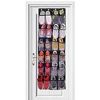 comfitis Over The Door Shoe Organizer - 24 Pockets and Door Shoe Rack for Door Shoe Storage 4 Customized Strong Metal Hooks Hanging Shoe Organizer