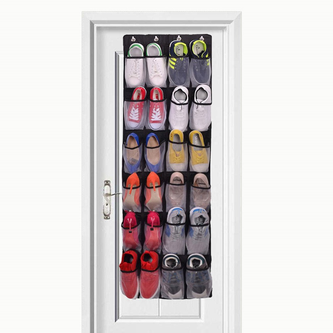 Over The Door Shoe Organizer - 24 Mesh Pockets,Hanging Shoe Organizer For Large Shoes, 4 Complete With Customized Metal Closet Door Shoe Organizer Hooks COMFITS