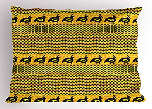 (K0k2t0 Primitive Pillow Sham, Timeless Motifs Chevron Zigzags Dots and Indigenous Bird Figures Ethnic Heritage, Decorative Standard Queen Size Printed Pillowcase, 30 X 20 inches, Multicolor)