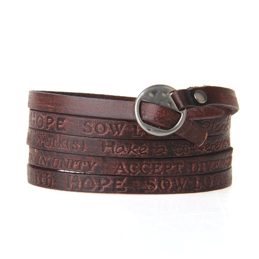 Jenia Letter Engraved Soft Leather Bracelet Cuff Bangle Rope Multilayer Design