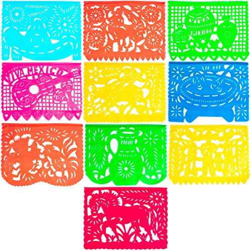 Large Plastic Papel Picado Banner - 15 Feet Long - Two Designs to choose from (1 Pack, Mexico -