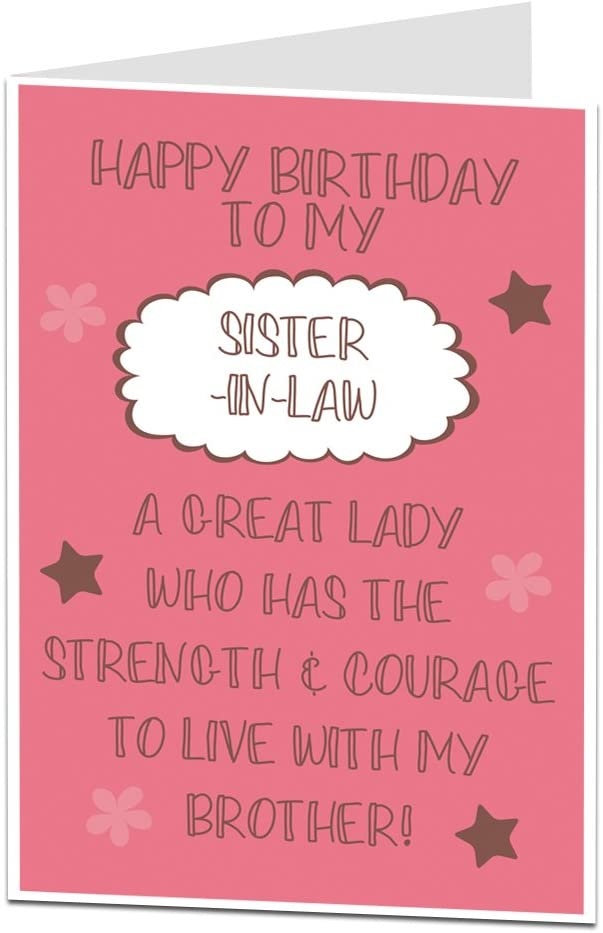 Funny Happy Birthday Sister In Law Card Amazon Co Uk Office Products