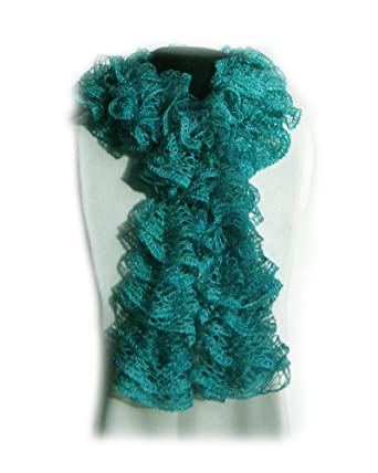 Fashion Handmade Knit Lacy Ruffle Scarf Red Heart Sashay Yarn