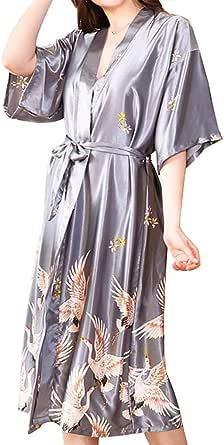 Korowa Women Printing Nightgown Silk Robes Girl Sleep Wear Long Satin Bathrobe XXXL