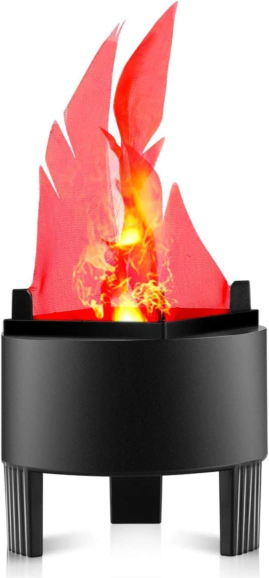 LED Fake Fire Flame Light 3D Flickering Fire Flame Electronic Flame Night Light Prop Simulated Flame Lamp Prop for Halloween Christmas Indoor Party Decoration, US Plug Standard Flame