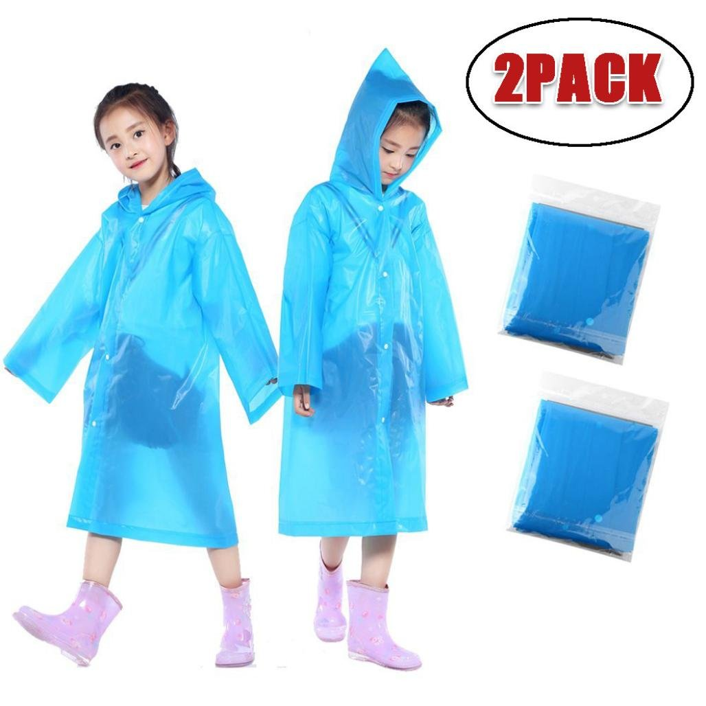 2PCS Portable Reusable Raincoats Children Rain Ponchos for 6-12 Years Old Blue)