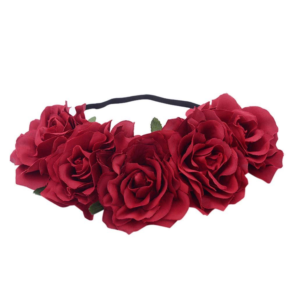 aliveGOT Rose Flower Headband Floral Crown Garland Halo Flower Crown with Floral Wrist Band for Wedding Festivals (Red1)