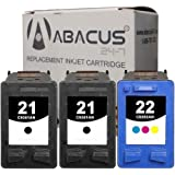 Abacus24-7 Remanufactured HP 21 and 22 Ink Cartridges for DeskJet D1560 F380 OfficeJet J3680 and other Printers - 3 Pack