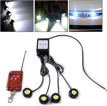 Remote Control Wireless 4 6W Strobe Flash Eagle Eye LED Car Light DRL Light Lamp