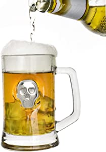 Solid Beer Mug with Silver Skull | Kocent Beer Glass Steins with Handle | Perfect For Everyday Drinking & Weekend Gathering | 15 Ounce
