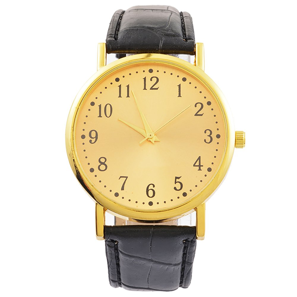 Loweryeah Unisex Number Scale Wrist Quartz Analog Watch with Black Artificial Leather Band 23.7cm