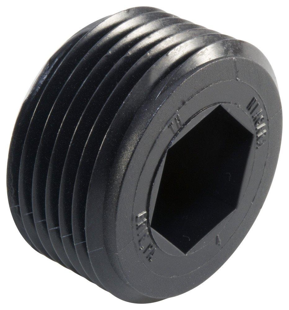 Caplugs QTH111KA1 Plastic Hex Socket Threaded Plug. TH-11, HDPE, To plug thread size 1-11-1/2'', Black (Pack of 160) by Caplugs (Image #1)