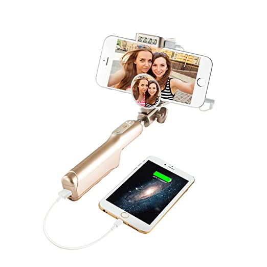 10 opinioni per GPLAN Bastone Selfie Wired Selfie Stick con Power bank 3200mAh Batteria Esterna