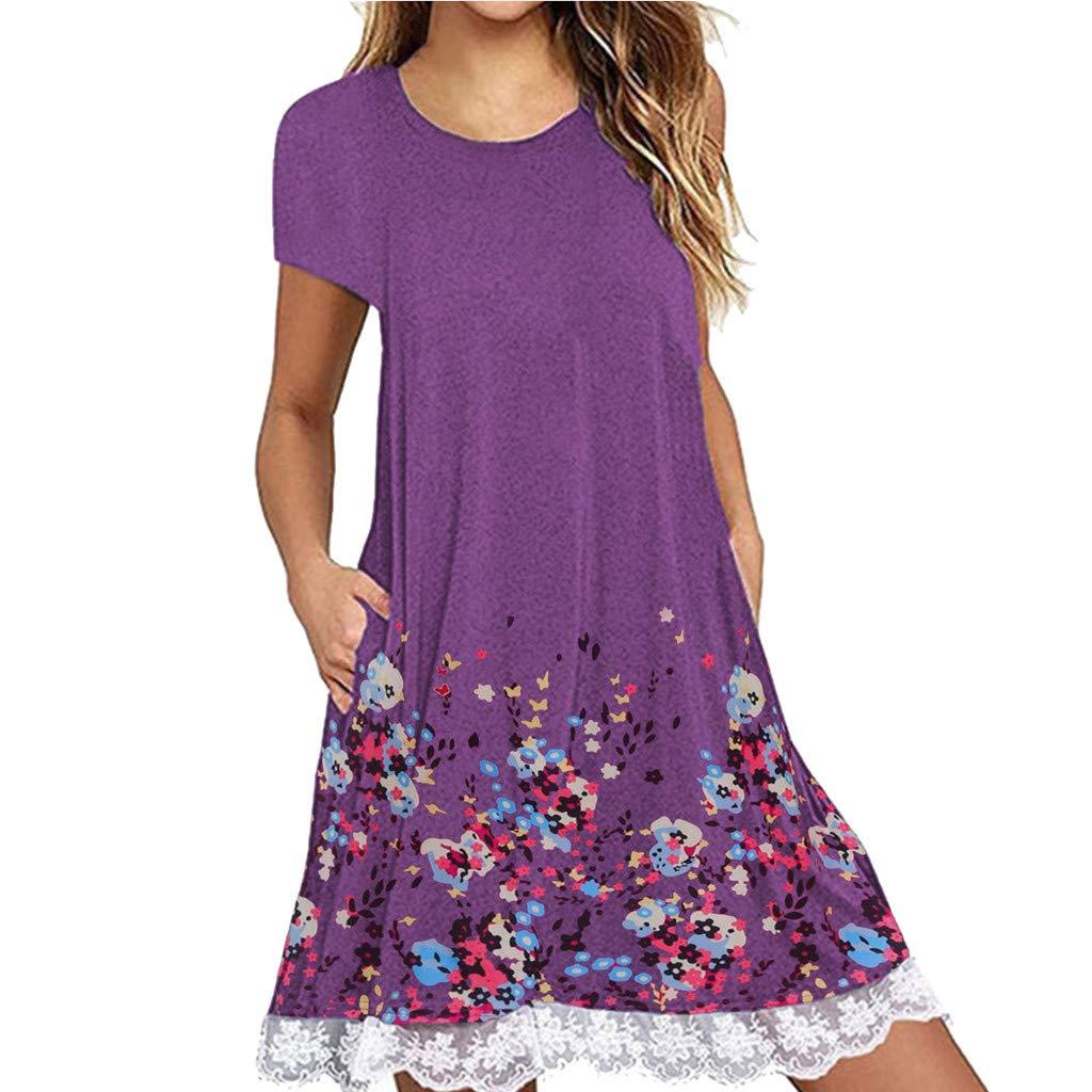 NRUTUP Women O Neck Casual Print Pocket Lace Short Sleeve Mini Dress Loose Party Dress (Purple,L)