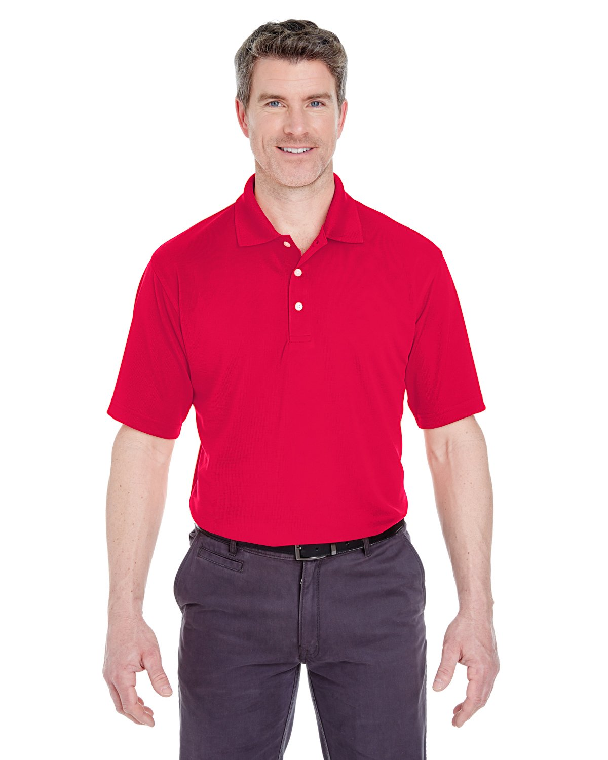 8445 UC MEN STAIN RELEASE PERF POLO RED 5XL UltraClub