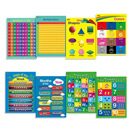 8 Laminated Educational Posters for Toddlers, 17 X 22 Includes: Alphabet, Shapes, Colors, Numbers 1-100, Numbers 1-10, Multiplication Table, Days of the Week, Months of the Year