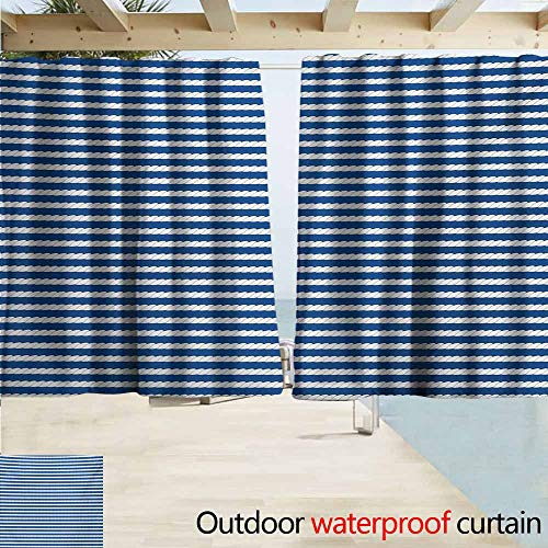AndyTours Indoor/Outdoor Print Window Curtain,Blue and White Yacht Navy Marine Themed Rope Stripe Pattern on Blue Toned Background,Simple Stylish Waterproof,W55x72L Inches,Blue and White ()