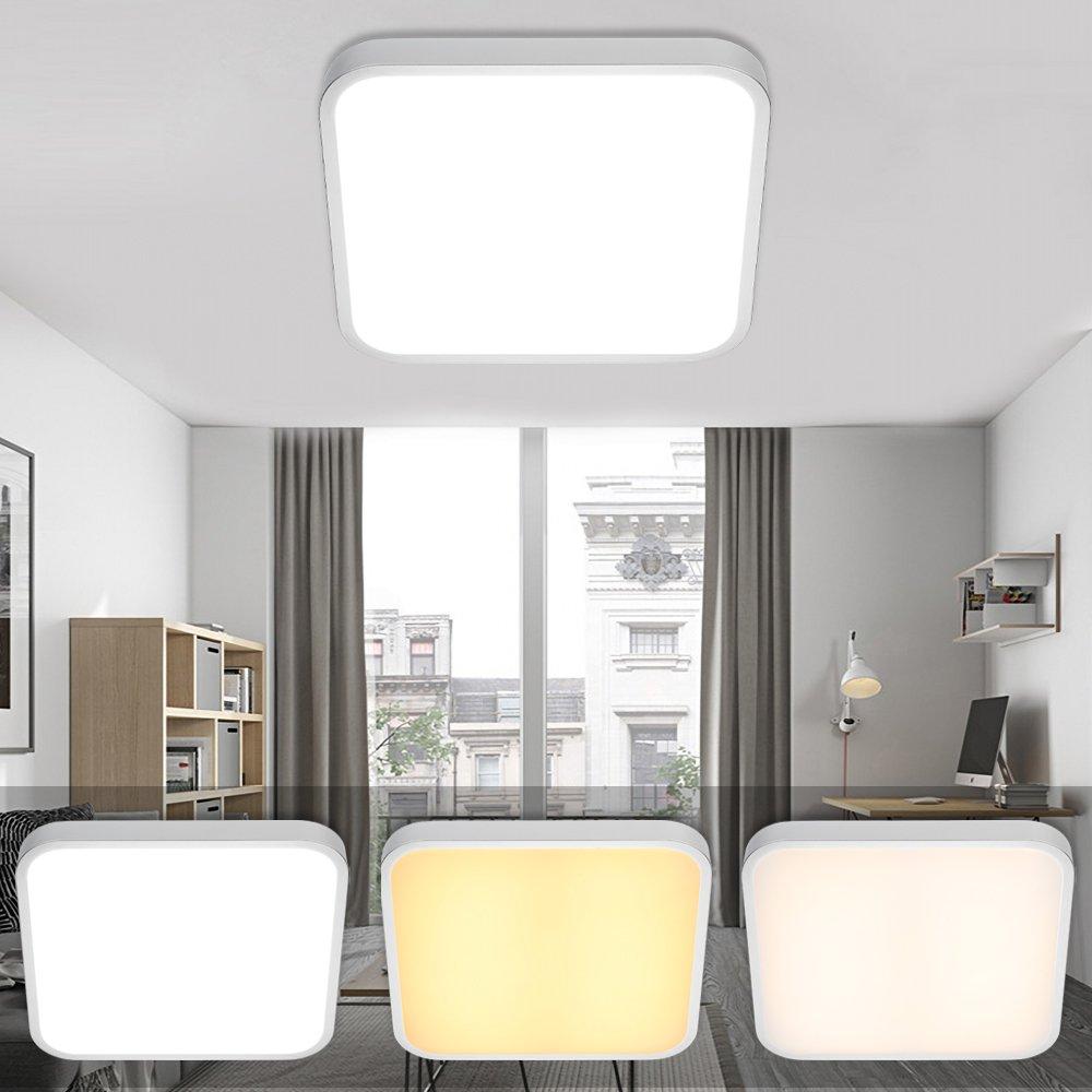 VINGO® LED Deckenleuchte Eckig Wohnzimmerlampe Schlafzimmerleuchte Badezimmerlampe spritzwassergeschützt (24W Farbwechsel) A-1-HG4754