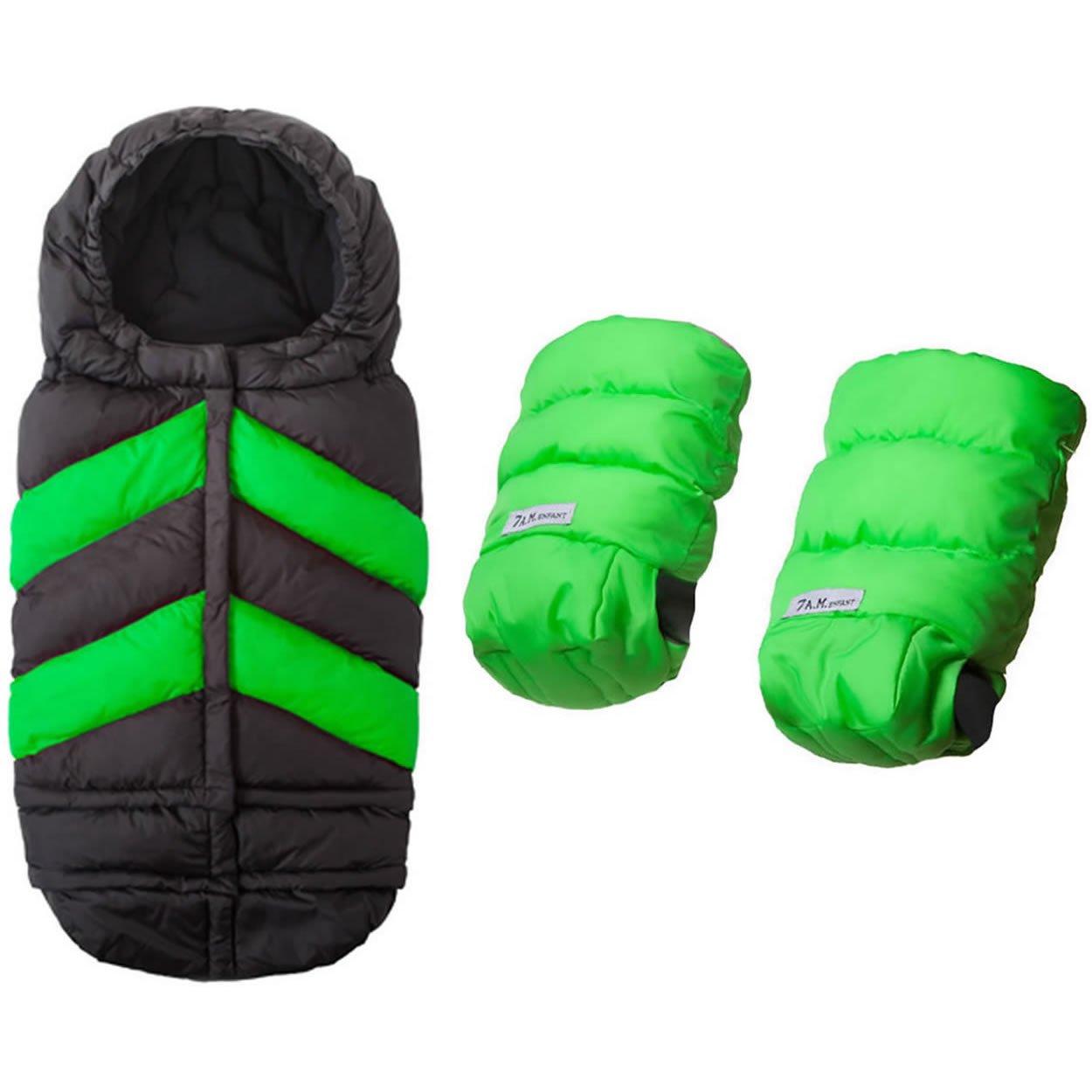 7 A.M. Enfant Blanket 212 Chevron With WarmMuffs 212 Gloves - Black/Neon Green