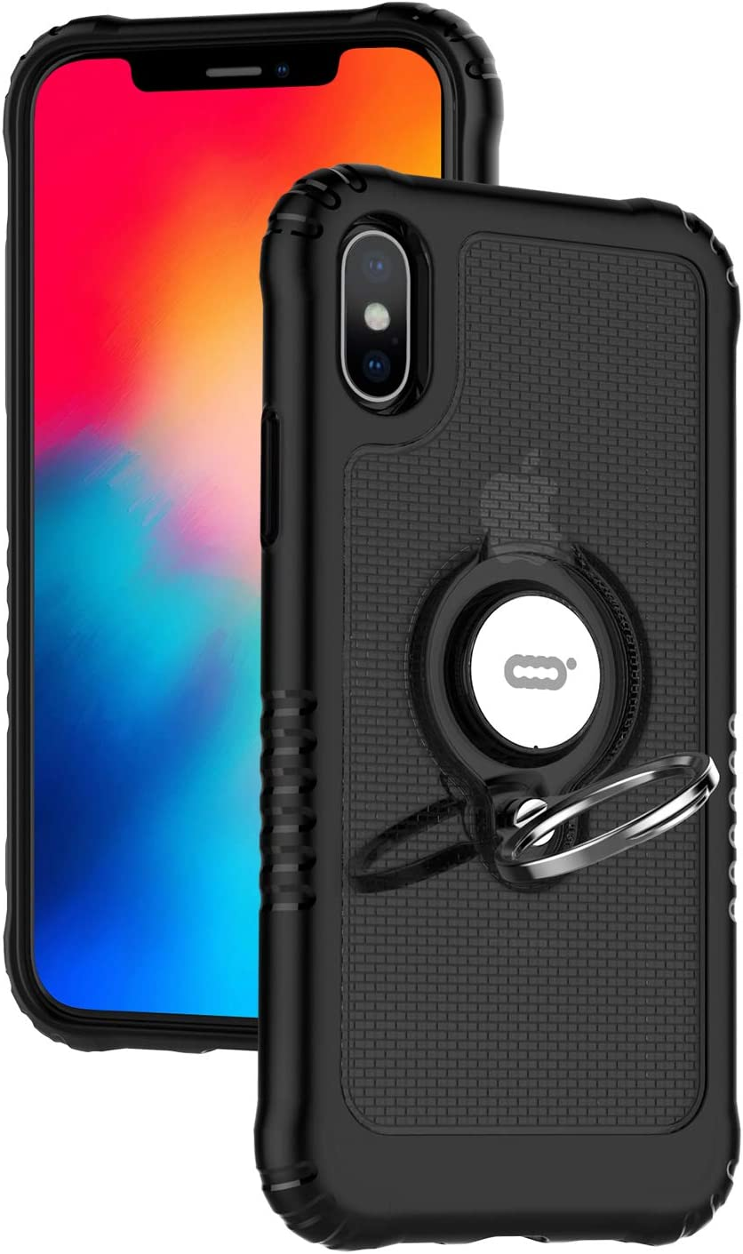 ICONFLANG Compatible Phone Case for iPhone Xs/for iPhone x with Ring Kickstand 360 Degree Rotating Drop Airbag Protection Shock Absorption Case [Compatible Magnetic Car Mount Case] (Black)