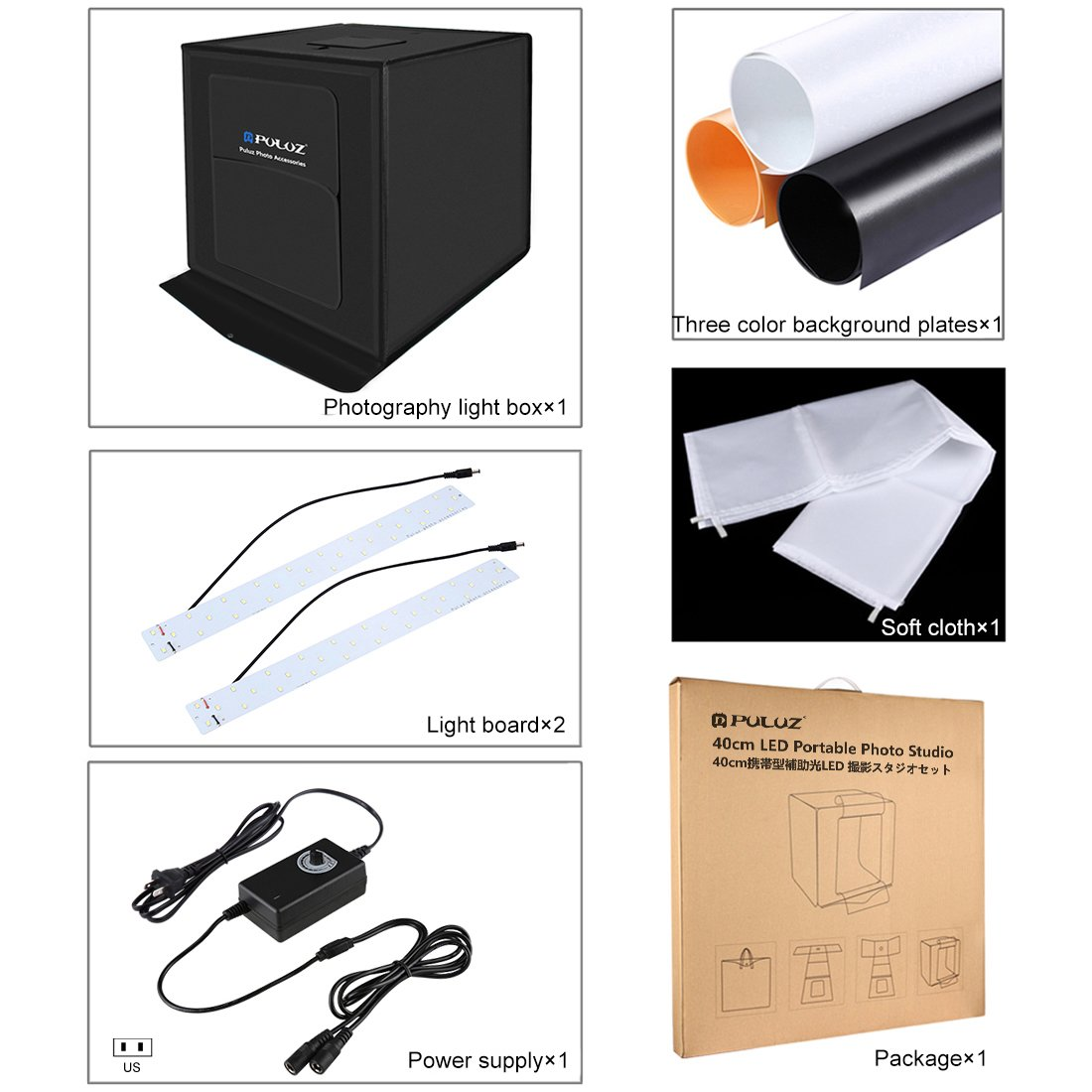 Portable Photo Studio with 3 Backdrops (Black/White/Orange), 16''x16'' Light Box for Jewelry,Toys,Baking,Small Items Photography, Shooting Tent Box Kit Brightness Adjustable by TSLEEN (Image #4)