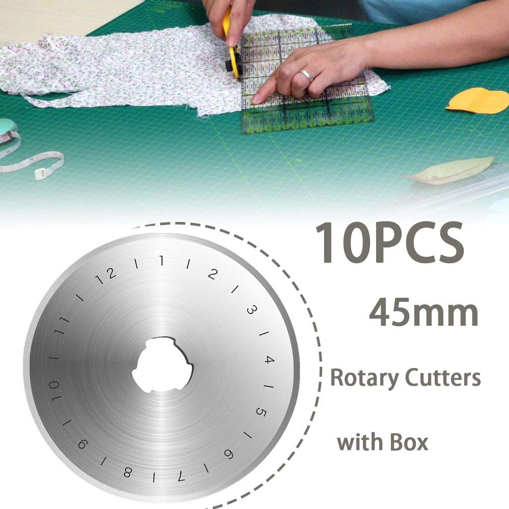GY000832 20PCS 45mm Rotary Cutters Trimmer Refill Blades Patchwork Leather Sew Sewing Quilting Replace Circular Round Kit Tool DIY in Box