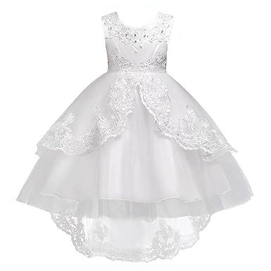 bd6d5ba8b7b45 Robe Princesse de Cérémonie Robe Asymétrique Florale Strass Faux Perles Robe  Tulle Longue de Soirée Mariage