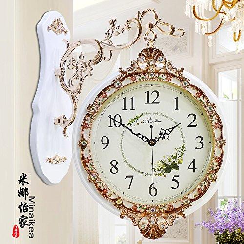 AYYA Creative wall clock large quartz clock wall clock double sided clock garden craft wall clock white by AYYA