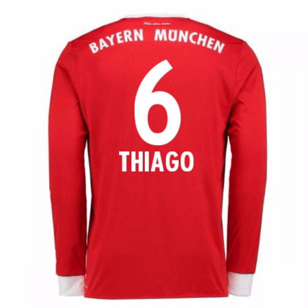 2017-18 Bayern Munich Home Long Sleeve Football Soccer T-Shirt Trikot (Kids) (Thiago 6)