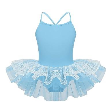 inhzoy Maillot de Ballet Clásico para Niña Vestido Tutú de Danza Encaje Leotardo de Gimnasia Rítmica Correas Cruzadas Disfraz de Bailarina Fiesta