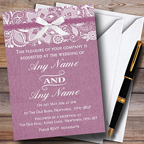 Vintage Plum Purple Burlap & Lace Personalized Wedding Invitations