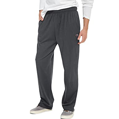 3abaef1f16a9 Champion Authentic Men s Open Bottom Jersey Pants Light Weight Sweatpant at  Amazon Men s Clothing store