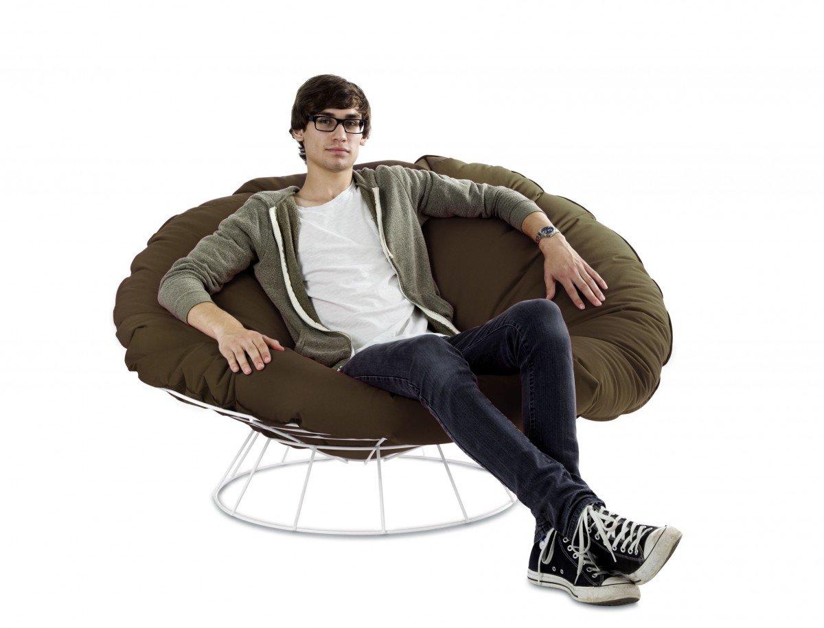 Dreams4Home Outdoor Sitzsack mit Gestell 'Liam' Ø 140 x 40 cm XXL Sitzkissen Bodenkissen, Farbe:Braun-Grau