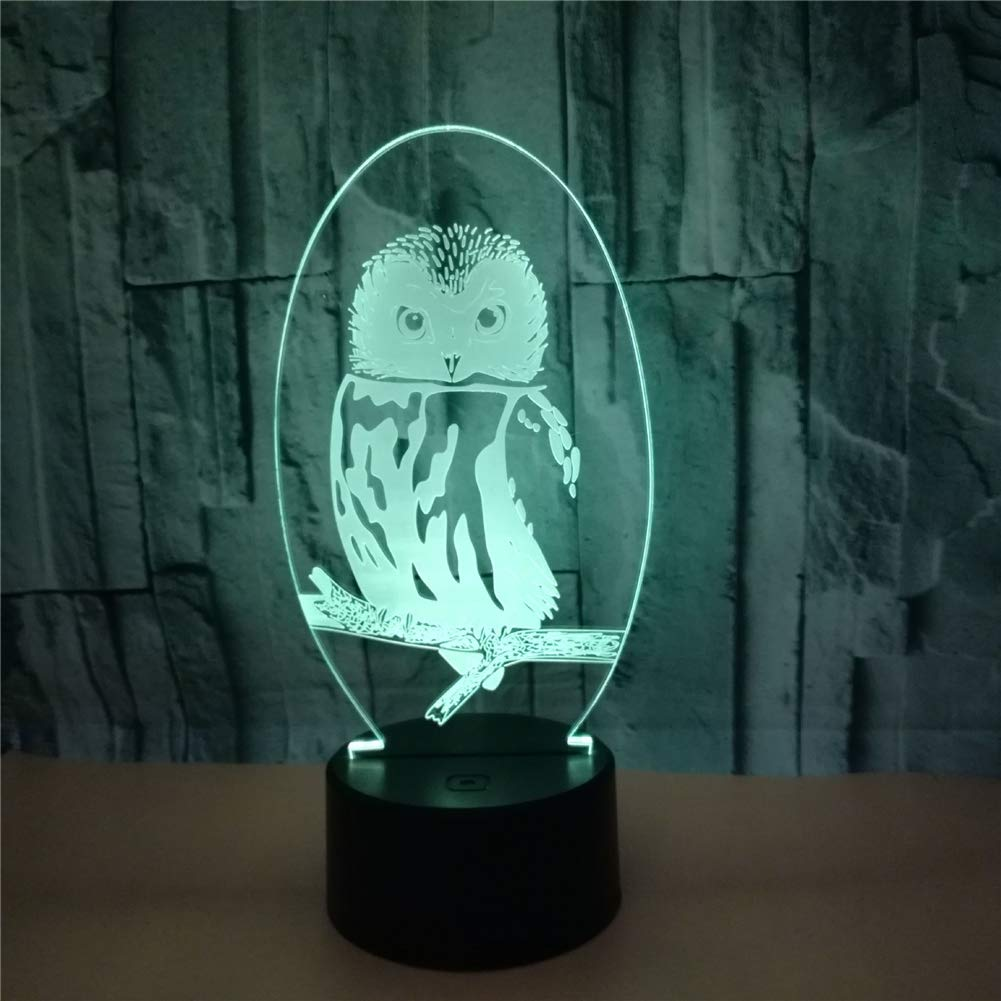 RUIYI Owl 3D Optical Visual Light Illusion Animal Table Lamp 7 Color Change Bedside Lamp with Base USB Girl Boy Kid Birthdy Gift Home Club Decoration