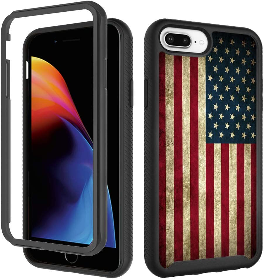 Case for iPhone 6 Plus 6s Plus,USA American Flag iPhone 8 Plus Case iPhone 7 Plus Case for Boy Men Design Shockproof Rugged Dual Layer Cover Bumper Full-Body Protective Case 5.5inch,Retro Vintage Flag