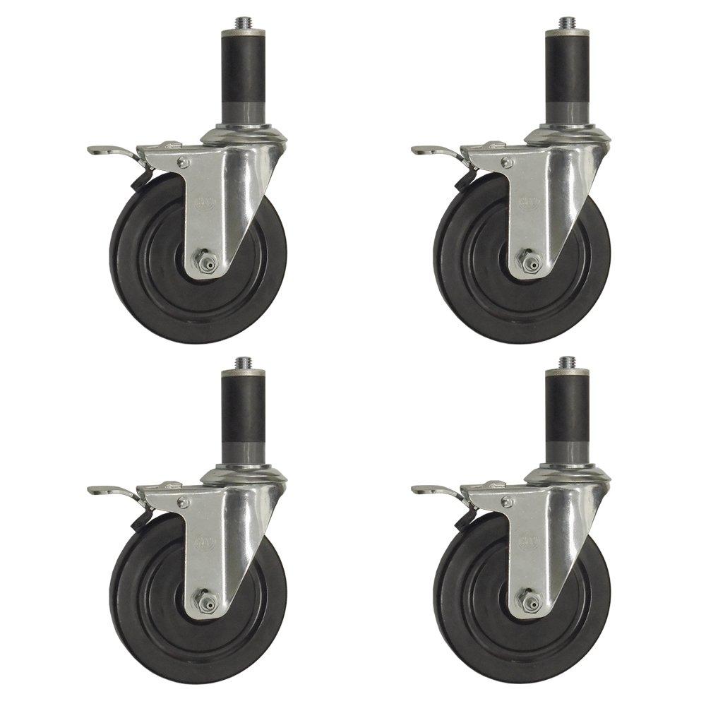 "Service Caster – 5"" Black Hard Rubber Wheel - 4 Swivel Casters w/1-3/8'' Expanding Stem w/Total Lock Brake – Set of 4"