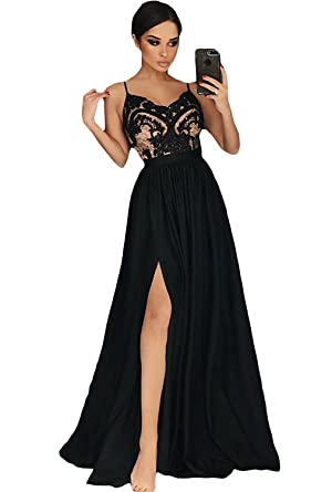 03df319a4f28 Ruisha Women Spaghetti Straps V Neck Slit Prom Dresses 2018 Long Sexy Formal  Party Gowns RS0113