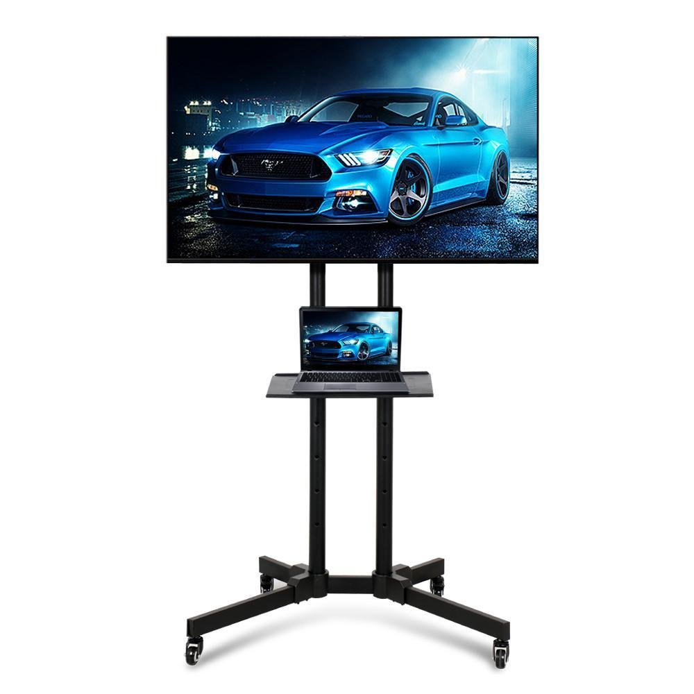 Yaheetech Mobile TV Cart Height Adjustable TV Stand with Mount for LCD LED Plasma Flat Screens fits 32'' to 65''