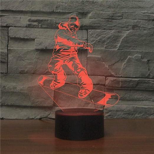 QingMuMu Street Skateboard 7 Color Lamp 3D Visual Led Night Lights para niños Touch USB Table Light Lamp Baby Sleeping Nightlight: Amazon.es: Hogar