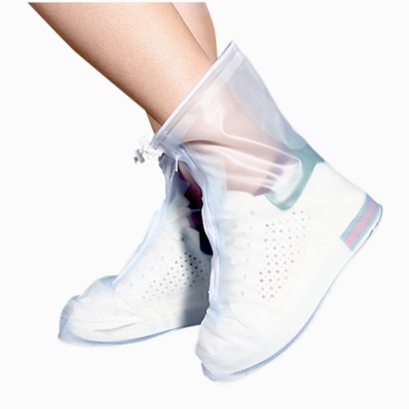 ARUNNERS Rain Shoes Boots Covers Overshoes Galoshes Travel Women(2XL,White)