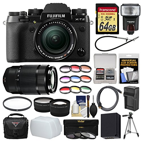 Price comparison product image Fujifilm X-T2 4K Wi-Fi Digital Camera & 18-55mm XF with 50-230mm II Lens + 64GB Card + Case + Flash + Battery & Charger + Tripod + Kit