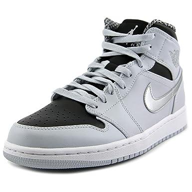 Nike Mens Air Jordan 1 Retro Mid Basketball Shoe Pure Platinum White Metallic Silver