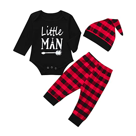 7bb3fed1f60 Amazon.com  Kehen Infant Baby Toddle Boy Spring Outift Little Man 3pc Long  Sleeve Cotton Romper + Plaid Print Pants + Hat  Clothing