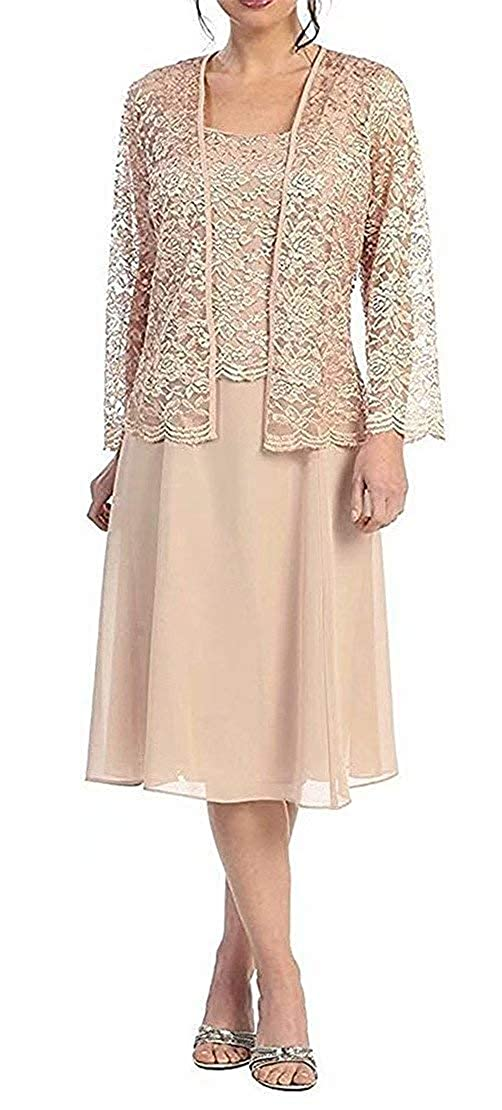 Champagne Short Mother of The Bride Dress Lace Long Sleeve Evening Gown Mother Dresses with Jacket