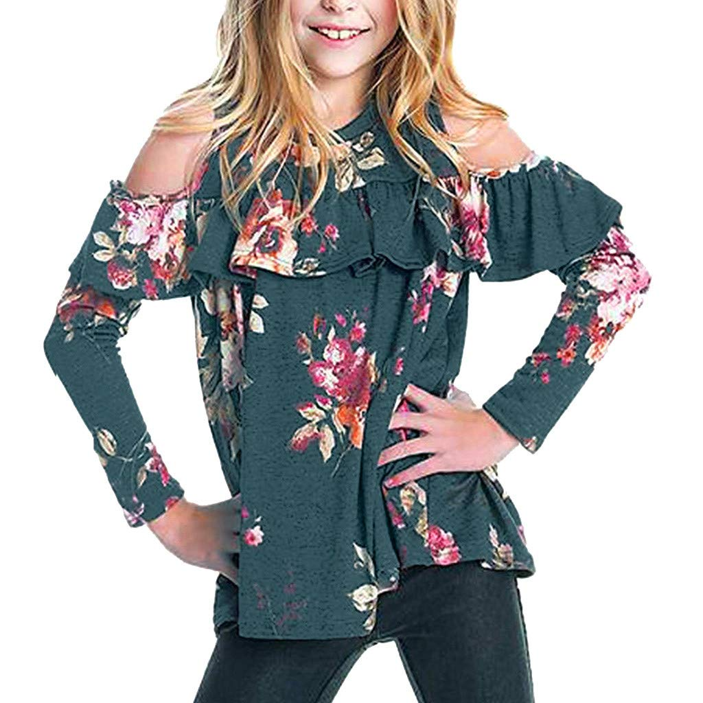 SUNBIBE Little Girls Clothing Casual Long Sleeve Floral T-Shirt Off Shoulder Ruffles Fashion Tops Size 6-14 Years