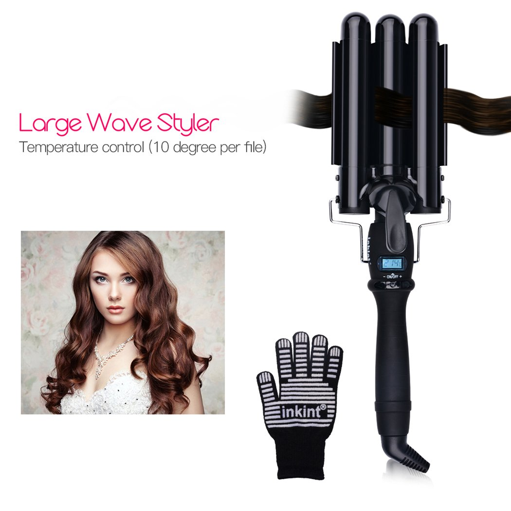 inkint 3 Barrel Curling Iron, Ceramic Waving Curling Iron-Fast Heating Styling Tool with Glove LCD Screen 110-240V Dual Voltage (19mm)