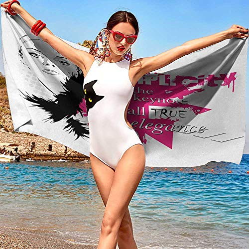 xixiBO Wholesale Towel W31 xL63 Girls,Lady Face with Makeup Simple Design Inspirational Vogue Fashion Theme Art,Black Pink Light Grey Oversized Bright Colors
