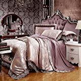Brown Queen King Size Bedding Set Luxury Silk Cotton Blend Lace Duvet Cover Sets Jacquard Pattern , king