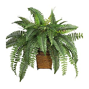 Nearly Natural Boston Fern w/Wood Wicker Basket Silk Plant Green 80